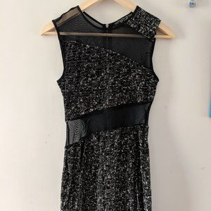 Topshop black and silver mesh & velvet dress